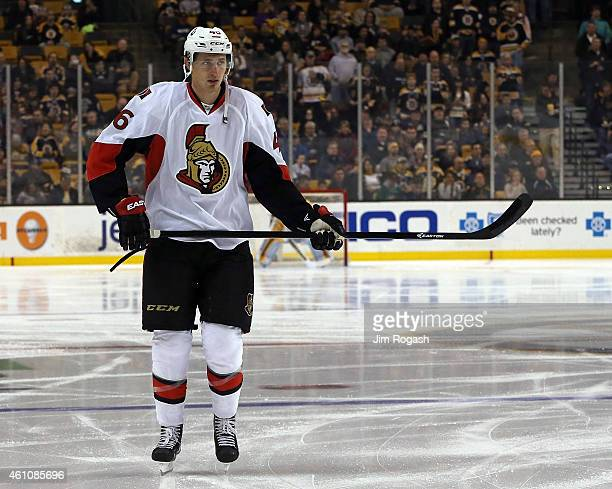 Patrick Wiercioch of the Ottawa Senators warms up before a game with the Boston Bruins at TD Garden on January 3 2015 in Boston Massachusetts