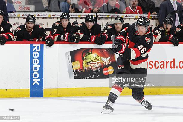 Patrick Wiercioch the Ottawa Senators shoots the puck against against the Chicago Blackhawks during an NHL game at Canadian Tire Centre on October 30...