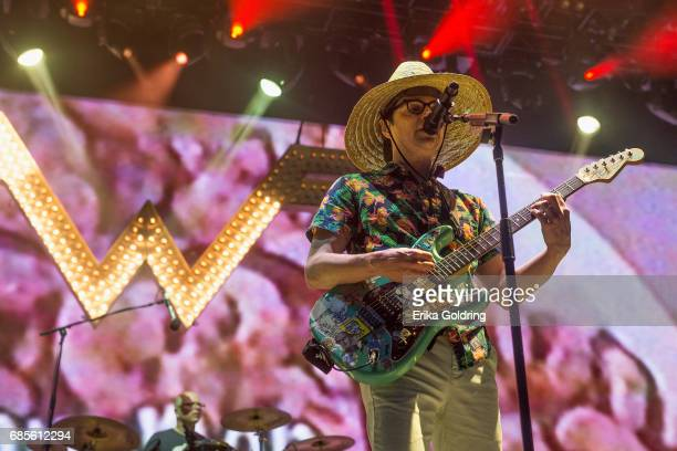 Patrick Wilson and Rivers Cuomo of the band Weezer perform during the 2017 Hangout Music Festival on May 19 2017 in Gulf Shores Alabama