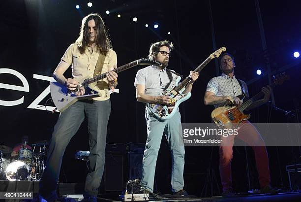 Patrick Wilson Brian Bell Rivers Cuomo and Scott Shriner of Weezer perform during the 2015 Life is Beautiful festival on September 27 2015 in Las...