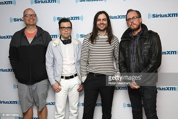 Patrick Wilson Rivers Cuomo Brian Bell and Scott Shriner of Weezer visit at SiriusXM Studio on April 1 2016 in New York City