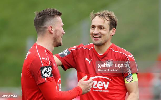 Patrick Wolf and Toni Wachsmuth of Zwickau look happy after the Third League match between FSV Zwickau and Fortuna Koeln on April 23 2017 at Stadion...
