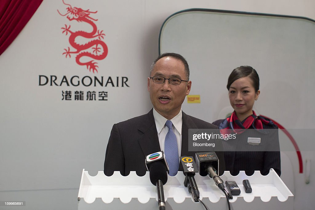 Patrick Yeung, chief executive officer of Hong Kong Dragon Airlines Ltd. (Dragonair), speaks during a media briefing in Hong Kong, China, on Thursday, Jan. 24, 2013. Dragonair is to upgrade cabins and add new destinations this year. Photographer: Jerome Favre/Bloomberg via Getty Images