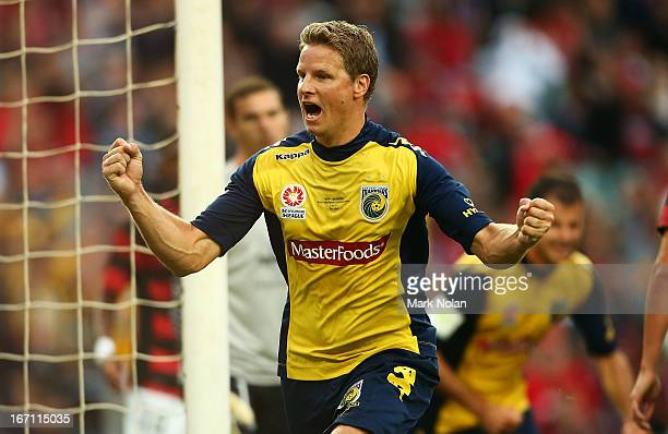 Patrick Zwaanswijk of the Mariners celebrates scoring a goal during the ALeague 2013 Grand Final match between the Western Sydney Wanderers and the...