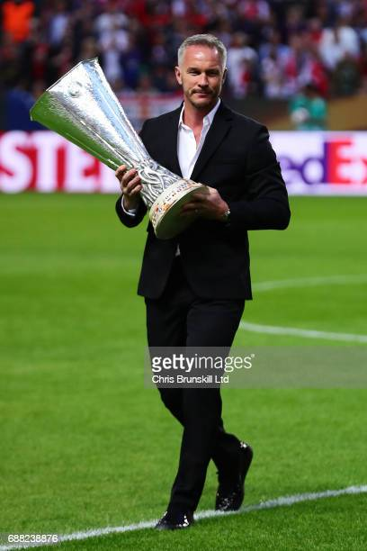 Patrik Andersson parades the UEFA Europa League trophy ahead of the UEFA Europa League Final match between Ajax and Manchester United at Friends...