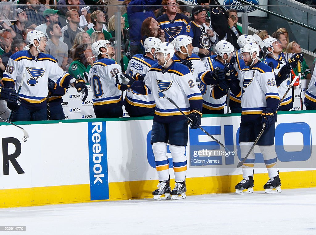 Patrik Berglund #21 and David Backes #42 of the St. Louis Blues celebrate a goal against the Dallas Stars in Game Two of the Western Conference Second Round during the 2016 NHL Stanley Cup Playoffs at the American Airlines Center on May 1, 2016 in Dallas, Texas.