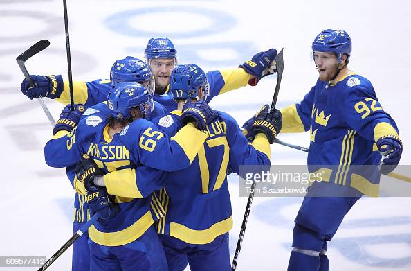 Patrik Berglund of Team Sweden celebrates his gametying goal in the third period with Erik Karlsson and Carl Soderberg and Gabriel Landeskog and...