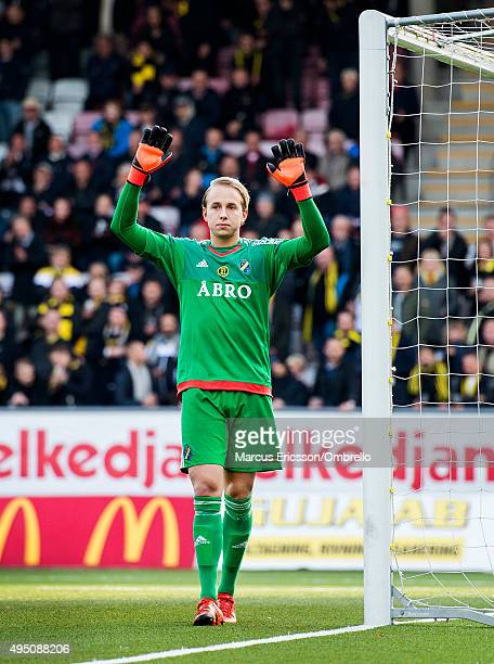 Patrik Carlgren goalkeeper of AIK during the match between Orebro SK and AIK at Behrn Arena on October 31 2015 in Orebro Sweden