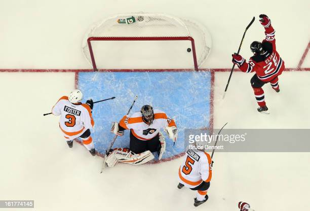 Patrik Elias of the New Jersey Devils celebrates the game winning goal by David Clarkson agaianst Ilya Bryzgalov of the Philadelphia Flyers at the...