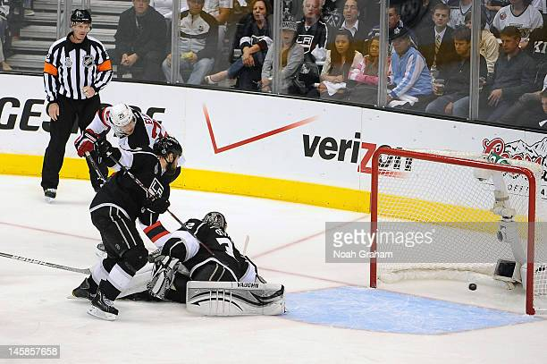 Patrik Elias of the New Jersey Devils scores a goal against Jonathan Quick of the Los Angeles Kings in Game Four of the 2012 Stanley Cup Final at...