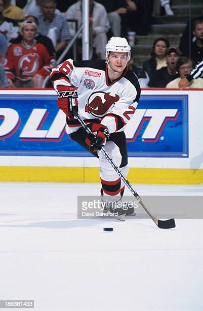 Patrik Elias of the New Jersey Devils skates against the Dallas Stars in Game 5 of the 2000 Stanley Cup Finals at the Continental Airlines Arena on...