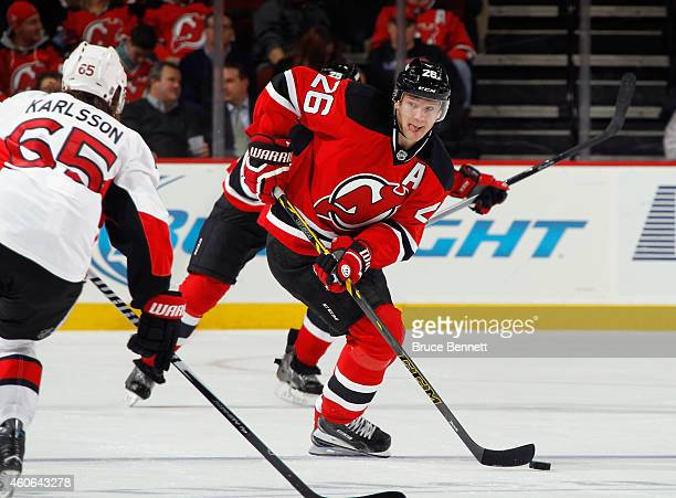 Patrik Elias of the New Jersey Devils skates against the Ottawa Senators at the Prudential Center on December 17 2014 in Newark New Jersey The...