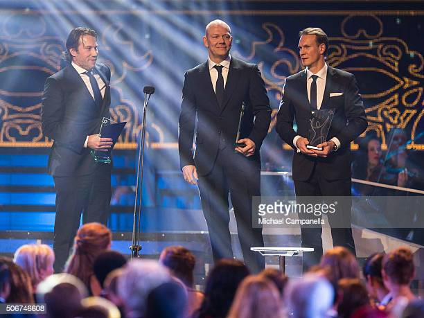 Patrik Forsberg Mats Sundin and Nicklas Lidstrom win an honorary prize at the Swedish Sports Gala at the Ericsson Globe on January 25 2016 in...