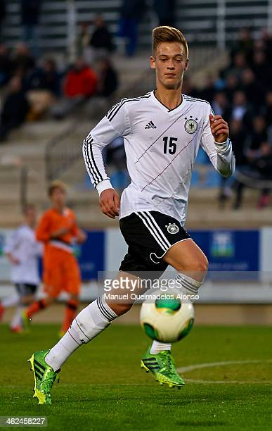 Patrik Fritsch of Germany runs with the ball during the friendly match between U18 Valencia CF and U16 Germany at la Manga Club on January 13 2014 in...