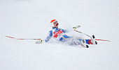 Patrik Jaerbyn of Sweden crashes during the second practice session of the FIS World Cup Downhill event on the Lauberhornrennen course at Wengen in...
