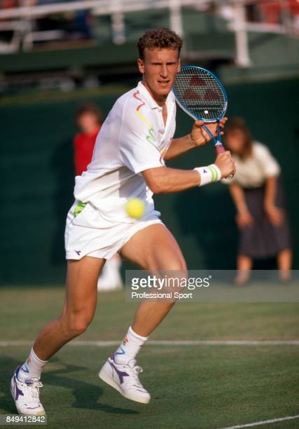 Patrik Kuhnen of West Germany in action during a men's singles match at the Stella Artois Tennis Championships at the Queens Club in London circa...