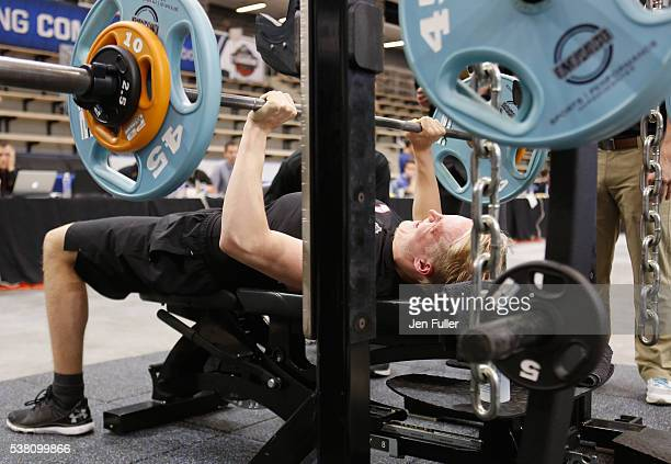 Patrik Laine does the Bench press during the NHL Combine at HarborCenter on June 4 2016 in Buffalo New York