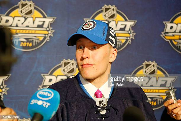 Patrik Laine gives an interview after being selected second by the Winnepeg Jets during round one of the 2016 NHL Draft on June 24 2016 in Buffalo...