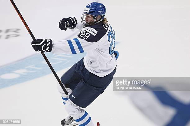 Patrik Laine of Finland celebrates after scoring the 11 during the 2016 IIHF World Junior Ice Hockey Championship final match Finland vs Russia in...
