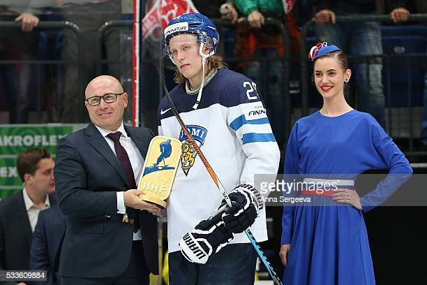 Patrik Laine of Finland gets a trophy during the award ceremony at the 2016 IIHF World Championship gold medal game at the Ice Palace on May 22 2016...