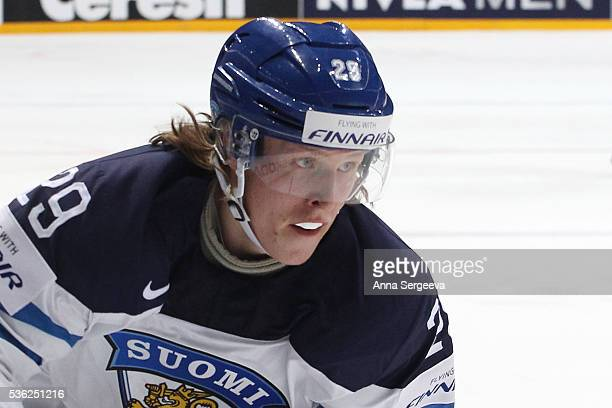 Patrik Laine of Finland looks on against Russia at Ice Palace on May 21 2016 in Moscow Russia Finland defeated Russia 31