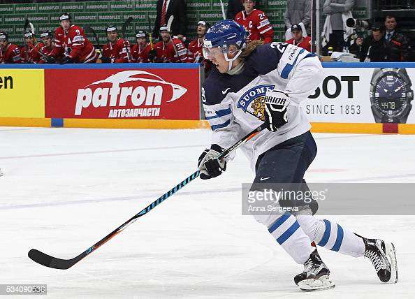 Patrik Laine of Finland skates against Canada during the 2016 IIHF World Championship gold medal game at the Ice Palace on May 22 2016 in Moscow...