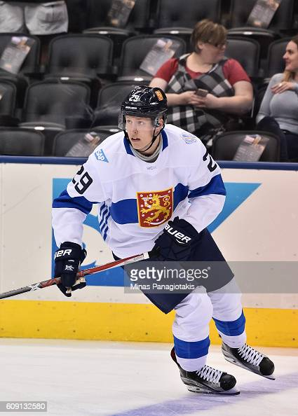 Patrik Laine of Team Finland warms up prior to a game against Team Sweden during the World Cup of Hockey 2016 at Air Canada Centre on September 20...