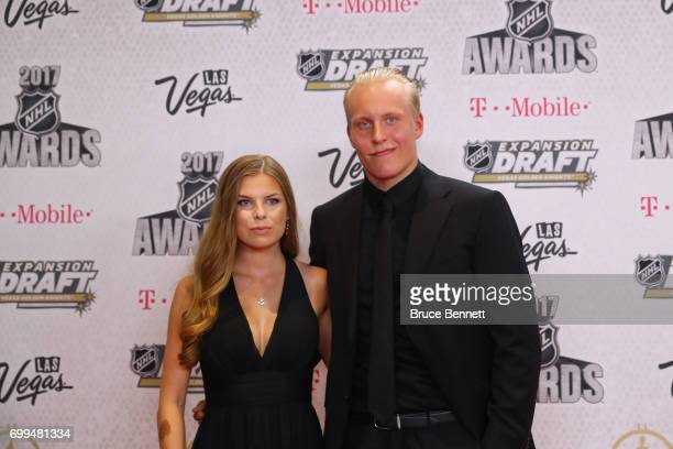 Patrik Laine of the Winnipeg Jets and guest attend the 2017 NHL Awards at TMobile Arena on June 21 2017 in Las Vegas Nevada