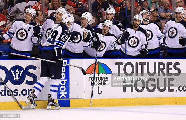 Patrik Laine of the Winnipeg Jets celebrates a goal during a game against the Florida Panthers at BBT Center on January 4 2017 in Sunrise Florida