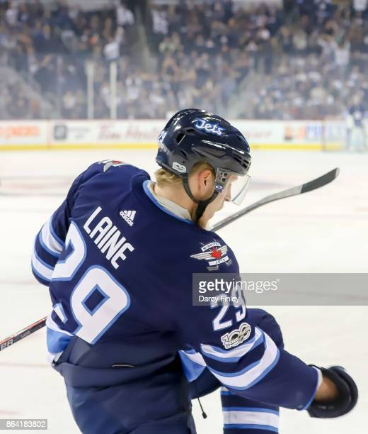 Patrik Laine of the Winnipeg Jets celebrates after scoring a first period goal against the Minnesota Wild at the Bell MTS Place on October 20 2017 in...