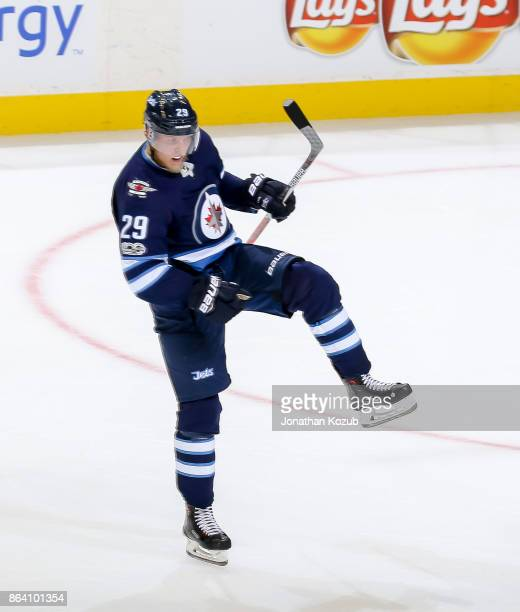 Patrik Laine of the Winnipeg Jets celebrates after scoring a second period goal against the Minnesota Wild at the Bell MTS Place on October 20 2017...