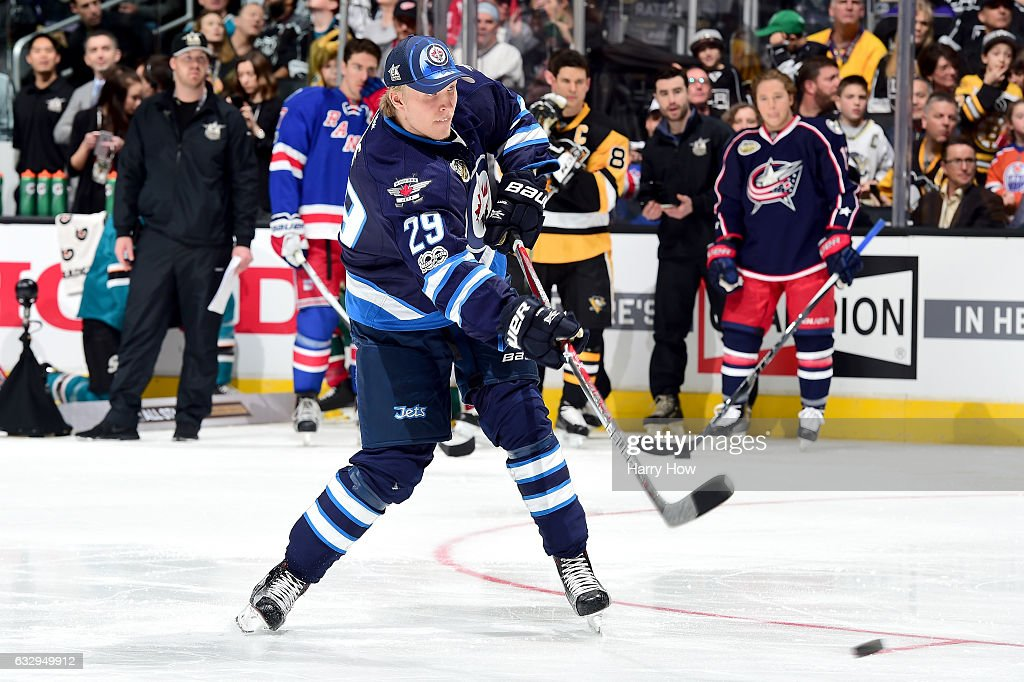 Patrik Laine #29 of the Winnipeg Jets competes in the Honda NHL Four Line Challenge during the 2017 Coors Light NHL All-Star Skills Competition as part of the 2017 NHL All-Star Weekend at STAPLES Center on January 28, 2017 in Los Angeles, California.
