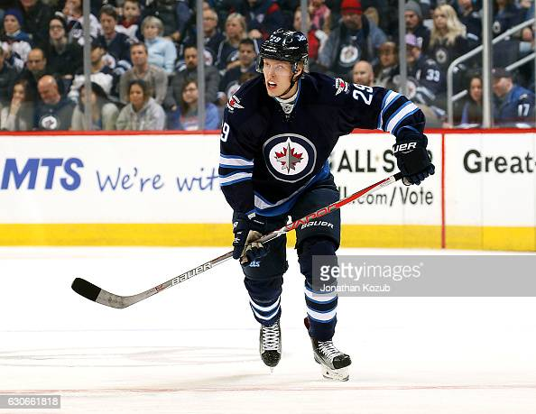 Patrik Laine of the Winnipeg Jets follows the play down the ice during first period action against the Columbus Blue Jackets at the MTS Centre on...