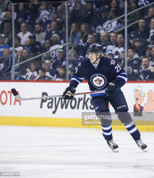 Patrik Laine of the Winnipeg Jets follows the play down the ice during first period action against the St Louis Blues at the MTS Centre on March 3...