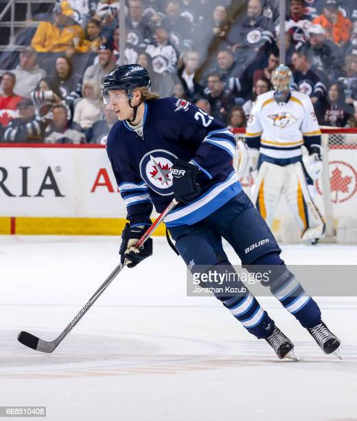 Patrik Laine of the Winnipeg Jets follows the play down the ice during first period action against the Nashville Predators at the MTS Centre on April...
