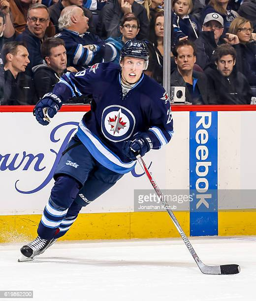 Patrik Laine of the Winnipeg Jets follows the play up the ice during first period action against the Dallas Stars at the MTS Centre on October 27...