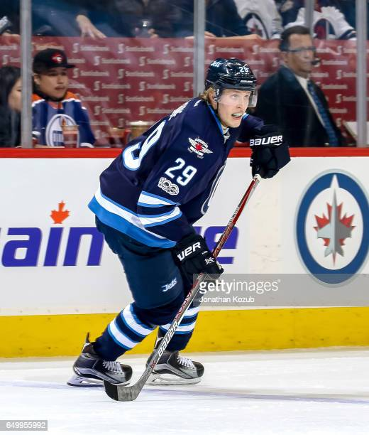 Patrik Laine of the Winnipeg Jets follows the play up the ice during second period action against the Colorado Avalanche at the MTS Centre on March 4...