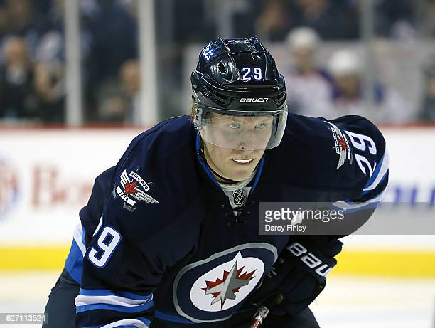 Patrik Laine of the Winnipeg Jets gets set for a third period faceoff against the Edmonton Oilers at the MTS Centre on December 1 2016 in Winnipeg...