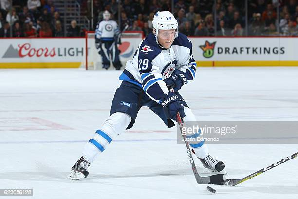 Patrik Laine of the Winnipeg Jets in action against the Colorado Avalanche at Pepsi Center on November 11 2016 in Denver Colorado