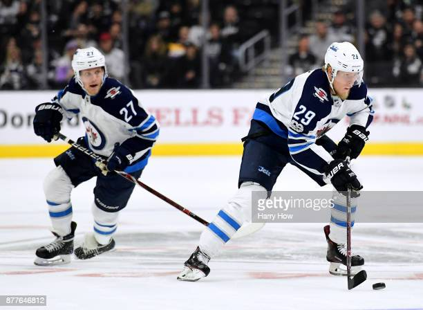 Patrik Laine of the Winnipeg Jets leads a rush with Nikolaj Ehlers during a 21 win over the Los Angeles Kings at Staples Center on November 22 2017...