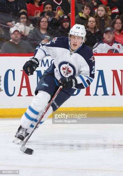 Patrik Laine of the Winnipeg Jets skates against the Ottawa Senators at Canadian Tire Centre on February 19 2017 in Ottawa Ontario Canada