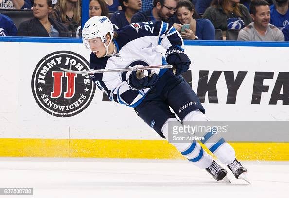 Patrik Laine of the Winnipeg Jets skates against the Tampa Bay Lightning at Amalie Arena on January 3 2017 in Tampa Florida 'n