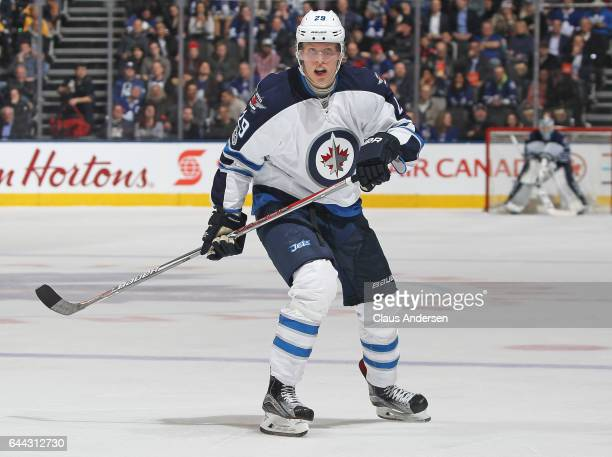 Patrik Laine of the Winnipeg Jets skates against the Toronto Maple Leafs during an NHL game at Air Canada Centre on February 21 2017 in London...