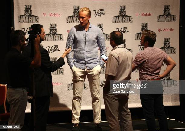 Patrik Laine of the Winnipeg Jets speaks to reporters during the 2017 NHL Awards media availability on June 20 2017 in Las Vegas Nevada