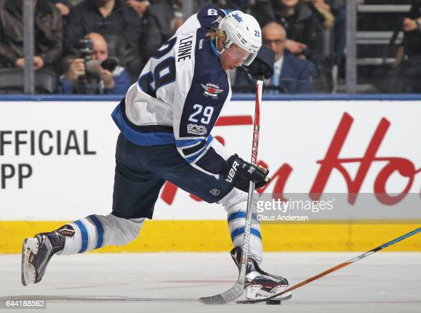 Patrik Laine of the Winnipeg Jets tries a toe drag play against the Toronto Maple Leafs during an NHL game at Air Canada Centre on February 21 2017...
