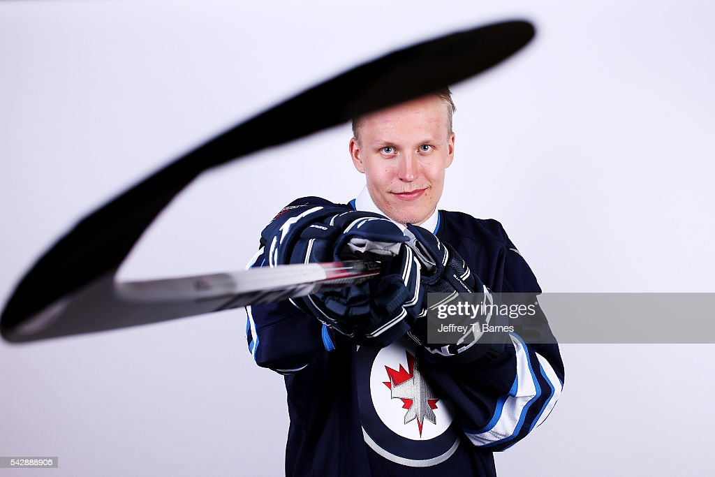 Patrik Laine poses for a portrait after being selected second overall by the Winnepeg Jets in round one during the 2016 NHL Draft on June 24, 2016 in Buffalo, New York.