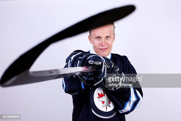 Patrik Laine poses for a portrait after being selected second overall by the Winnepeg Jets in round one during the 2016 NHL Draft on June 24 2016 in...