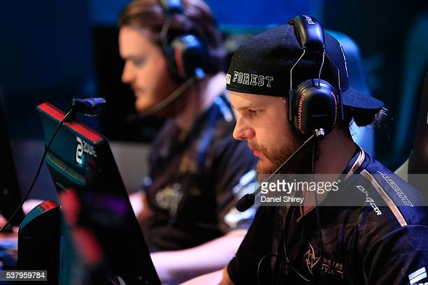 Patrik Lindberg gamertag 'f0rest' of Ninjas in Pyjamas warms up prior to the match against G2 Esports at the ELeague Arena at Turner Studios on June...