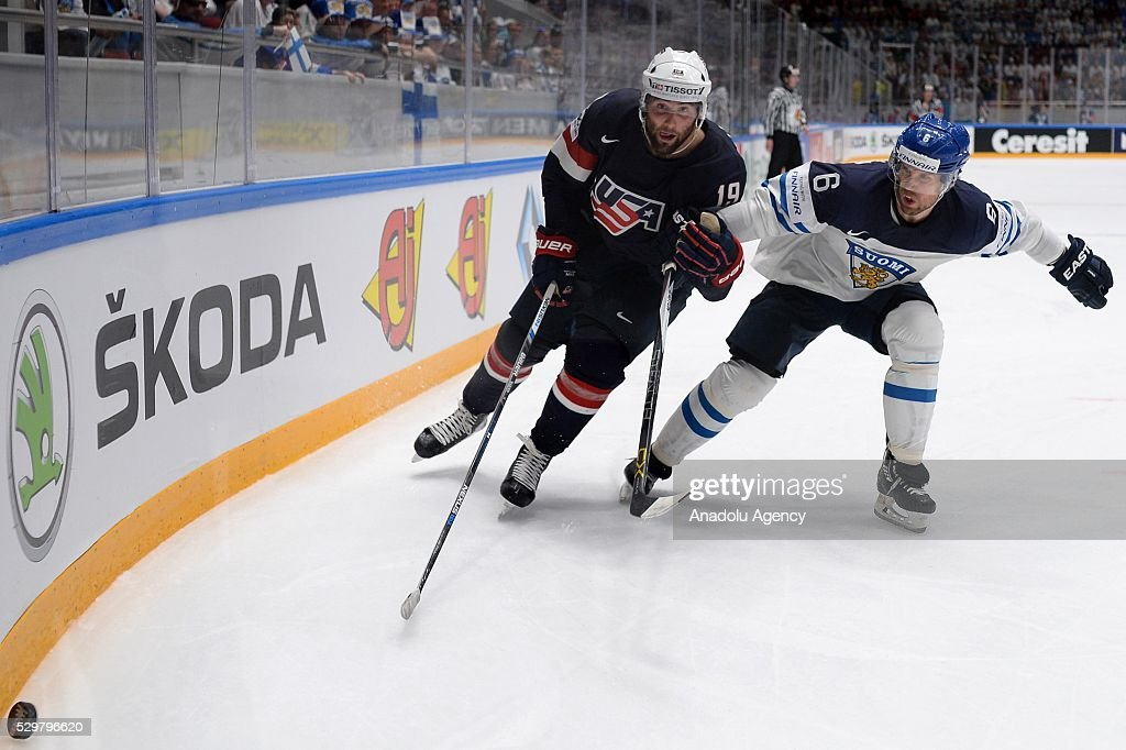 Patrik Maroon of USA vies with Topi Jaakola of Finland during IIHF  Picture
