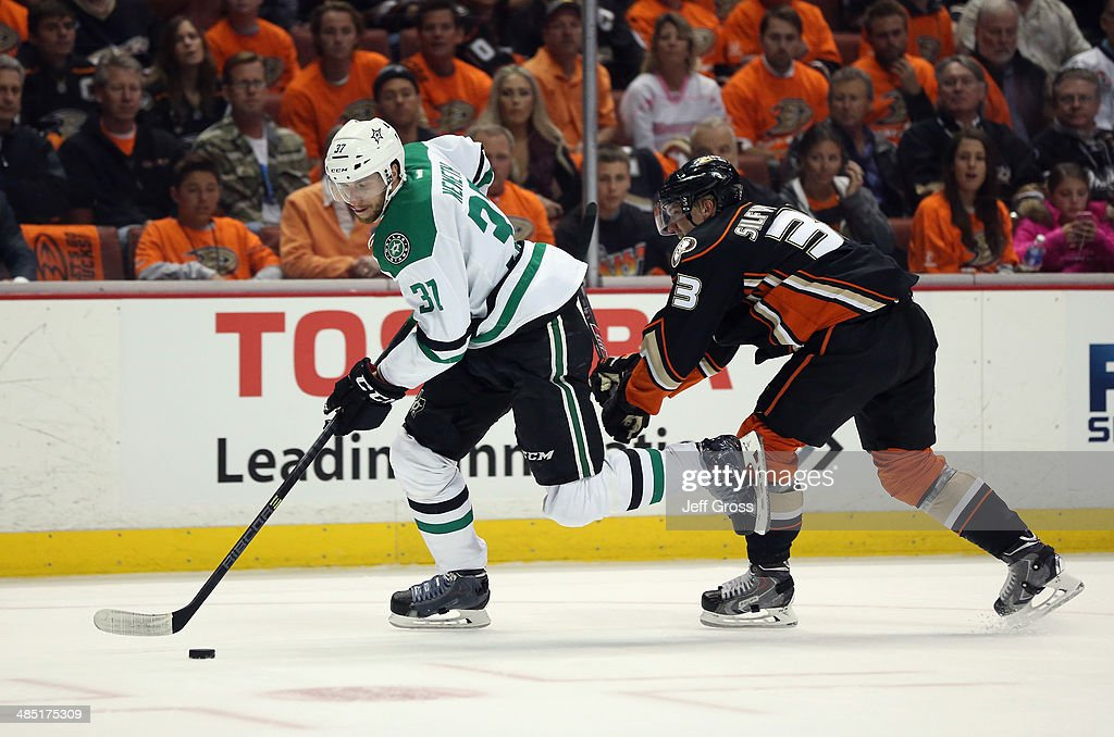 <a gi-track='captionPersonalityLinkClicked' href=/galleries/search?phrase=Patrik+Nemeth&family=editorial&specificpeople=7029356 ng-click='$event.stopPropagation()'>Patrik Nemeth</a> #37 of the Dallas Stars is pursued by <a gi-track='captionPersonalityLinkClicked' href=/galleries/search?phrase=Jakob+Silfverberg&family=editorial&specificpeople=5894639 ng-click='$event.stopPropagation()'>Jakob Silfverberg</a> #33 of the Anaheim Ducks for the puck in the first period of Game One of the First Round of the 2014 NHL Stanley Cup Playoffs at Honda Center on April 16, 2014 in Anaheim, California. The Ducks defeated the Stars 4-3. Photo by Jeff Gross/Getty Images)